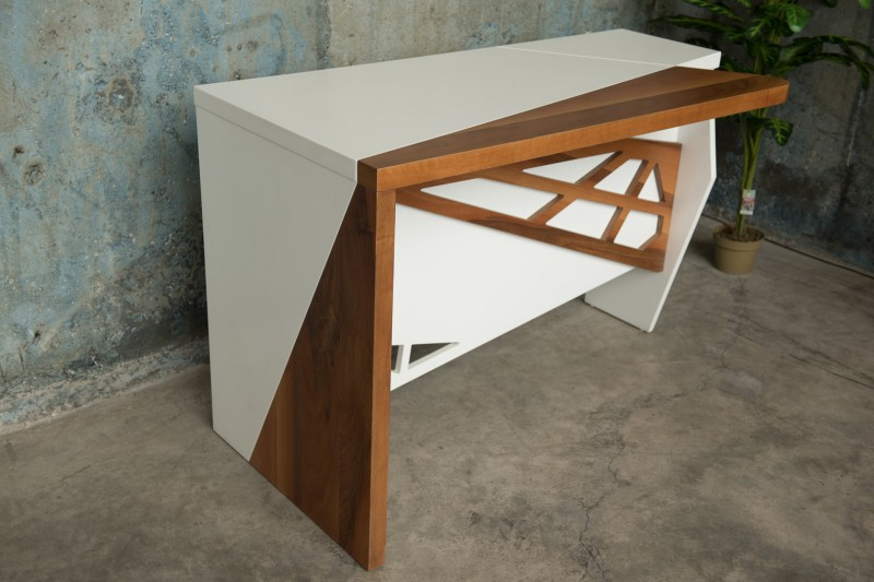 Walnut and white office desk